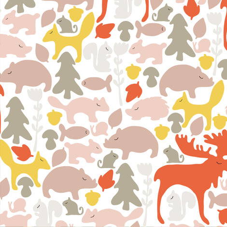 woodland gathering in white fabric by thislittlestreet on Spoonflower - custom fabric
