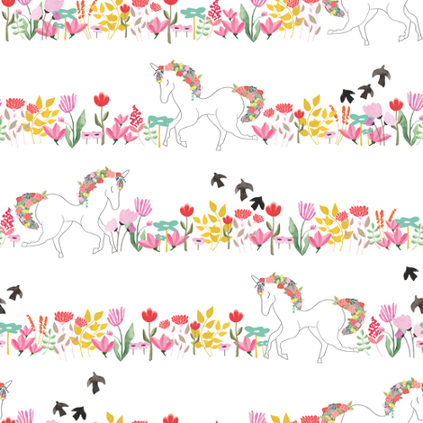 Unicorns and flowers in lines fabric by thislittlestreet on Spoonflower - custom fabric