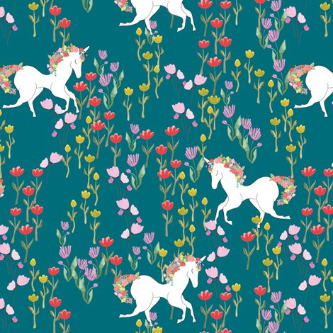 Rspoonflower_unicorns1_teal_shop_preview