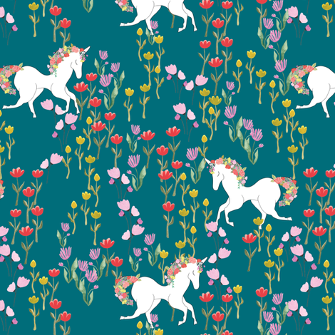 Unicorns in flower field fabric by thislittlestreet on Spoonflower - custom fabric
