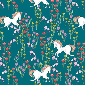 Unicorns in flower field