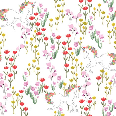 Unicorns in flower field - white fabric by thislittlestreet on Spoonflower - custom fabric