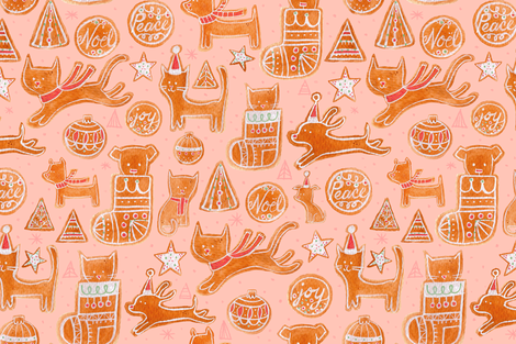 Holiday Cookie in Pink - © Lucinda Wei fabric by lucindawei on Spoonflower - custom fabric