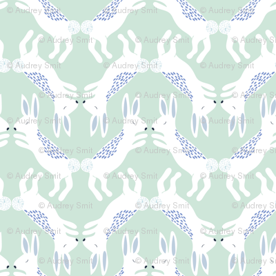 Up North bunnies in pastel green