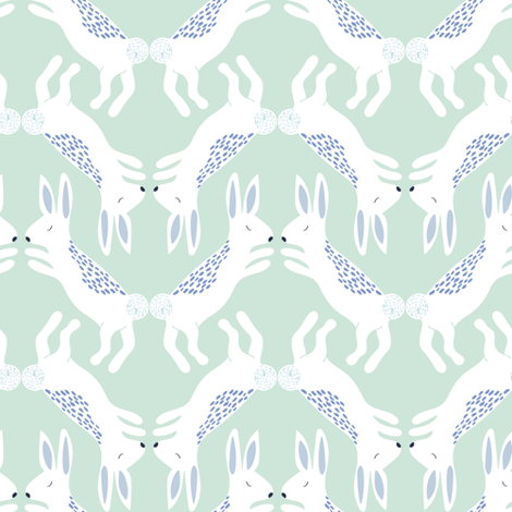 Up North bunnies in pastel green fabric by thislittlestreet on Spoonflower - custom fabric