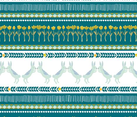 Fair Isle rabbits bunnies in teal - MEDIUM fabric by thislittlestreet on Spoonflower - custom fabric