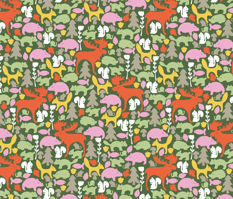 Woodland gathering in green fabric by thislittlestreet on Spoonflower - custom fabric