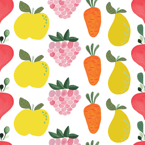 Littler gardener fruit and veggies fabric by thislittlestreet on Spoonflower - custom fabric