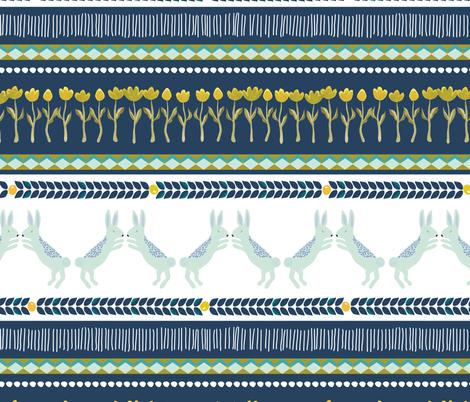 Fair isle rabbits bunny in navy - MEDIUM fabric by thislittlestreet on Spoonflower - custom fabric