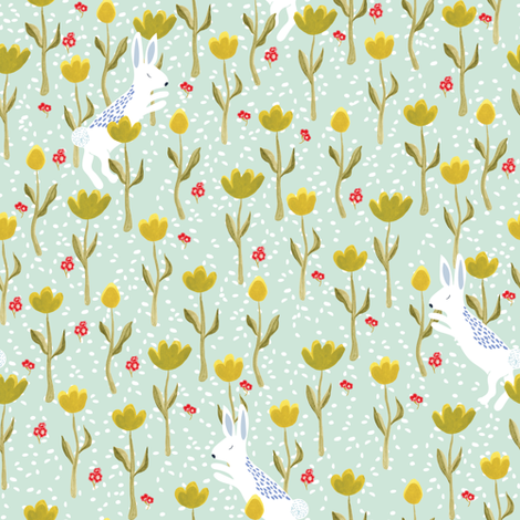 Snow  bunnies and flowers in pastel green fabric by thislittlestreet on Spoonflower - custom fabric