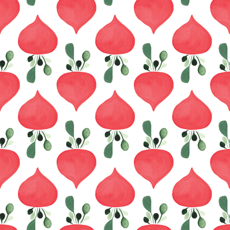 Rows of radishes in white fabric by thislittlestreet on Spoonflower - custom fabric