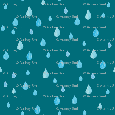 Rainy day in teal - SMALL