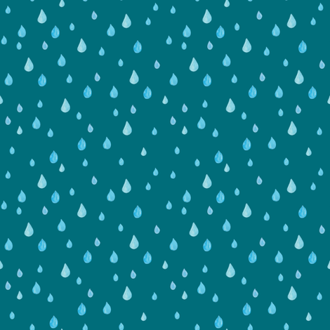 Rainy day in teal - SMALL fabric by thislittlestreet on Spoonflower - custom fabric