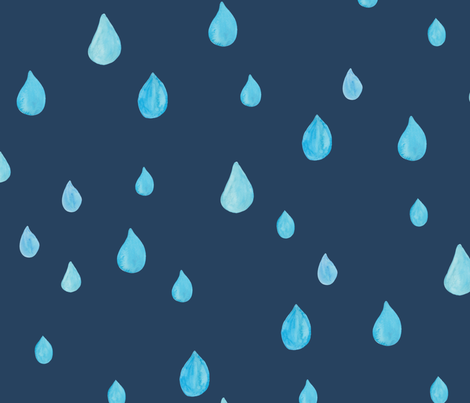 Rainy day in navy - BIG fabric by thislittlestreet on Spoonflower - custom fabric