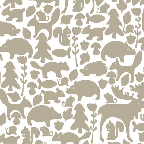 Woodland gathering in grey fabric by thislittlestreet on Spoonflower - custom fabric