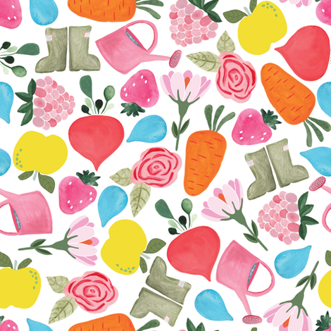 Garden medley in white fabric by thislittlestreet on Spoonflower - custom fabric