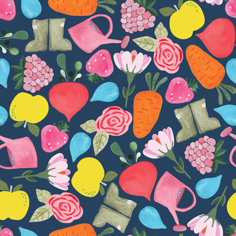 Garden medley in navy fabric by thislittlestreet on Spoonflower - custom fabric