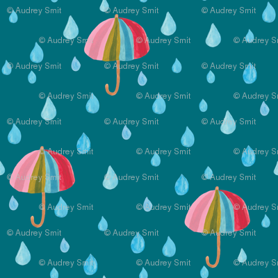 Rainbow umbrella in teal - Small