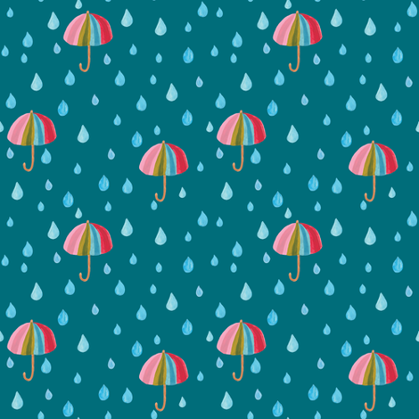 Rainbow umbrella in teal - Small fabric by thislittlestreet on Spoonflower - custom fabric