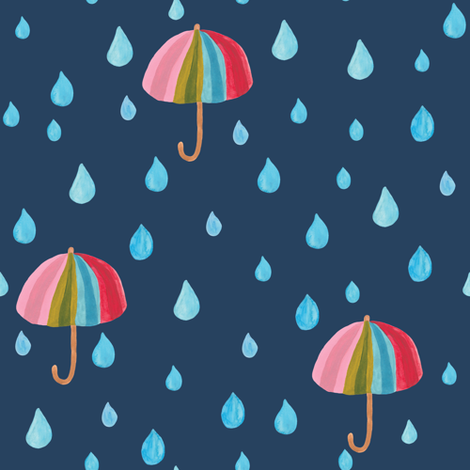 Rainbow umbrellas in navy fabric by thislittlestreet on Spoonflower - custom fabric