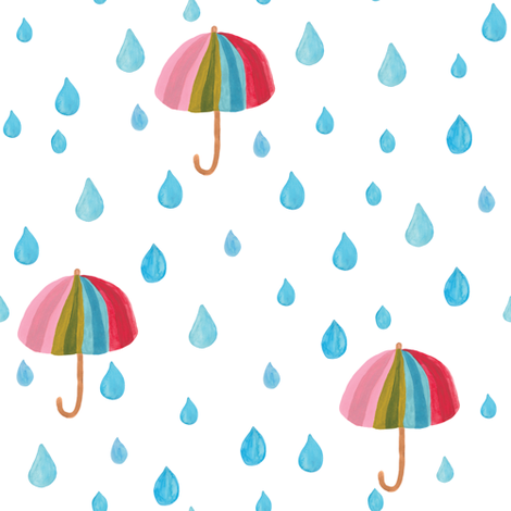 Rainbow umbrellas fabric by thislittlestreet on Spoonflower - custom fabric