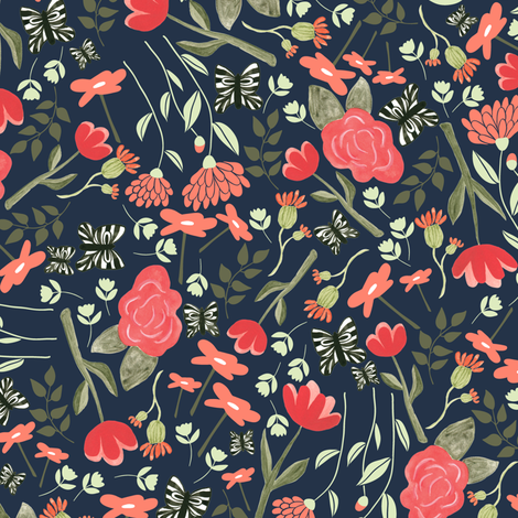 Butterfly garden in navy fabric by thislittlestreet on Spoonflower - custom fabric