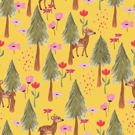 Rspoonflower_mountains_deers_yellow_shop_preview