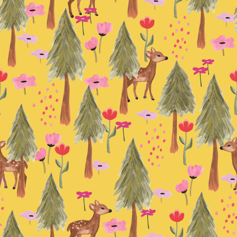 Deers in the forest fabric by thislittlestreet on Spoonflower - custom fabric