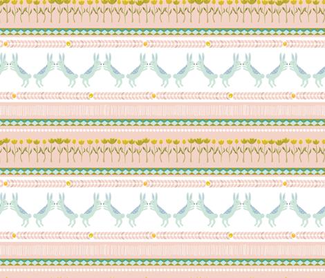 Fair isle rabbits bunnies in pink -SMALL fabric by thislittlestreet on Spoonflower - custom fabric