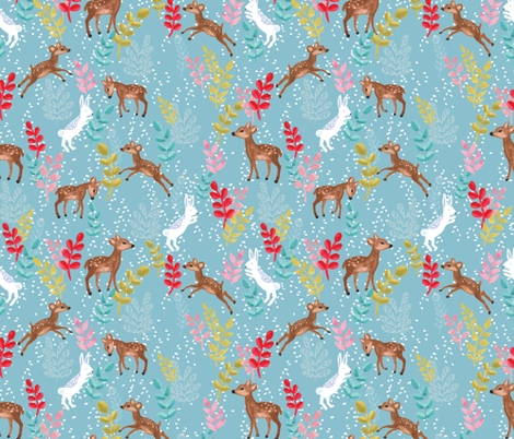 Deers and bunnies in blue fabric by thislittlestreet on Spoonflower - custom fabric