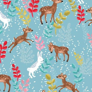 Deers and bunnies in blue