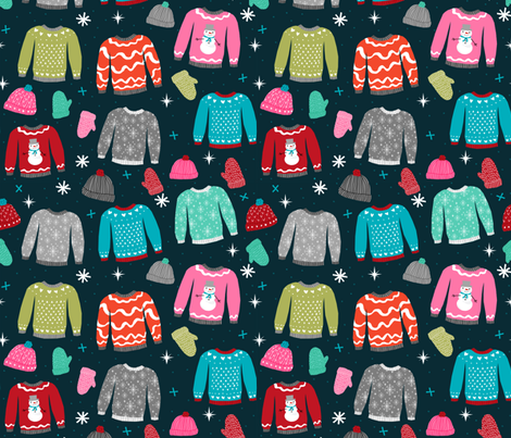 snow day sweaters winter fabric sweater design  fabric by charlottewinter on Spoonflower - custom fabric