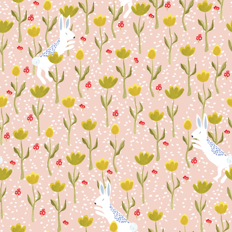 Snow bunnies and flowers in pink fabric by thislittlestreet on Spoonflower - custom fabric