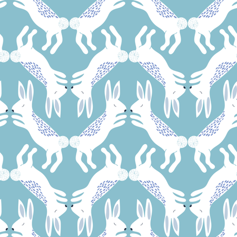 Up North bunnies in blue fabric by thislittlestreet on Spoonflower - custom fabric
