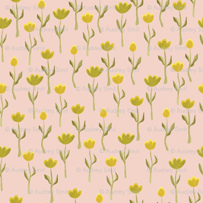 Up North floral flowers in salmon pink