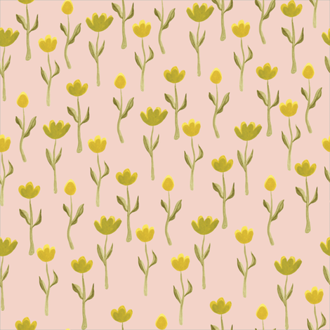 Up North floral flowers in salmon pink fabric by thislittlestreet on Spoonflower - custom fabric