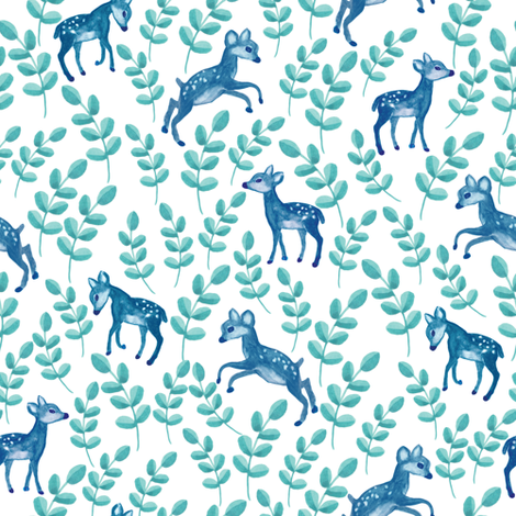Up North blue deers fabric by thislittlestreet on Spoonflower - custom fabric