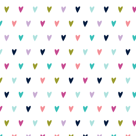 multi hearts || good cheer colorway fabric by littlearrowdesign on Spoonflower - custom fabric