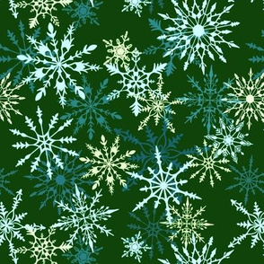 Snow Day Snowflakes in Green, Mint and Pale Yellow