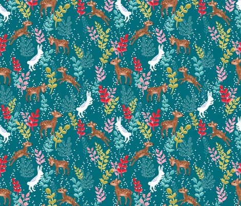 Rrrrrspoonflower_upnorth_deersandrabbits_teal_shop_preview