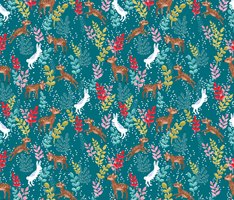 Deers and bunnies in the snow in teal fabric by thislittlestreet on Spoonflower - custom fabric