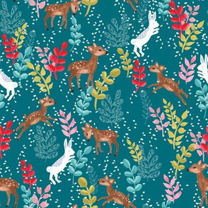 Deers and bunnies in the snow in teal