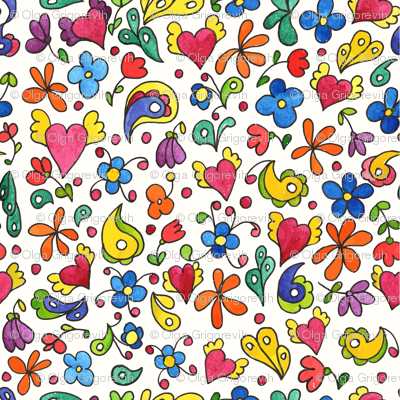 Childish design with flowers and hearts.