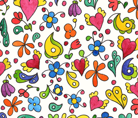 Childish design with flowers and hearts. fabric by oaurea on Spoonflower - custom fabric