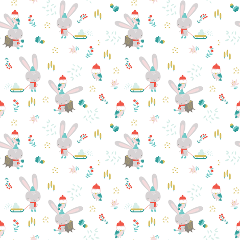 BUNNY IN THE SNOW fabric by minkypnoo on Spoonflower - custom fabric