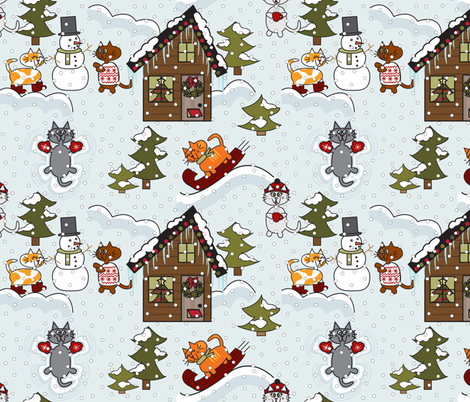 Kitty Snow Day fabric by peek_a_boo_panda on Spoonflower - custom fabric