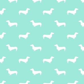 aqua dachshund silhouette fabric doxie design dachshunds fabric