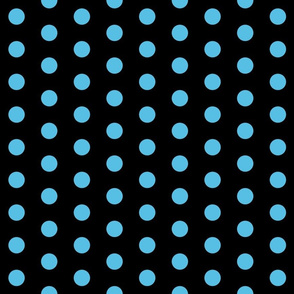 Polka Dots - 1 inch (2.54cm) - Light Blue (#57bee4) on Black (00000)