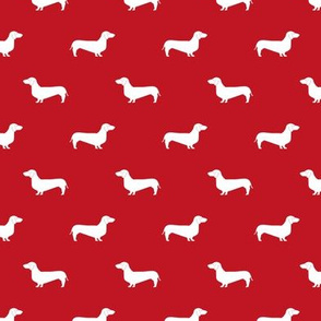 fire red dachshund silhouette fabric doxie design dachshunds fabric