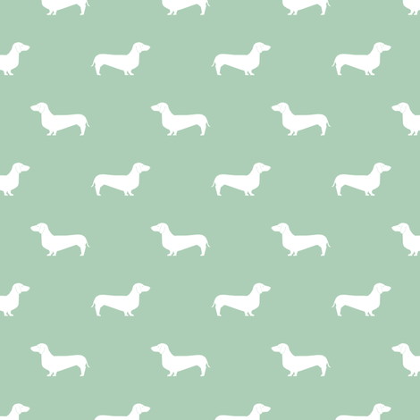 mist green dachshund silhouette fabric doxie design dachshunds fabric  fabric by petfriendly on Spoonflower - custom fabric